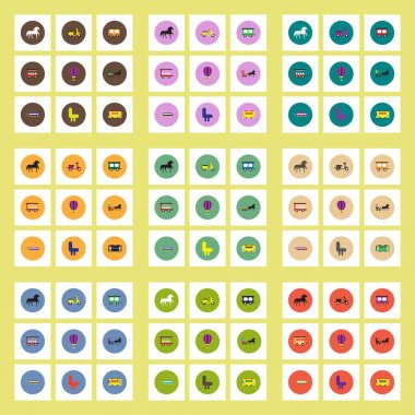 set of different kinds of transport stylish vector icons in colorful circles