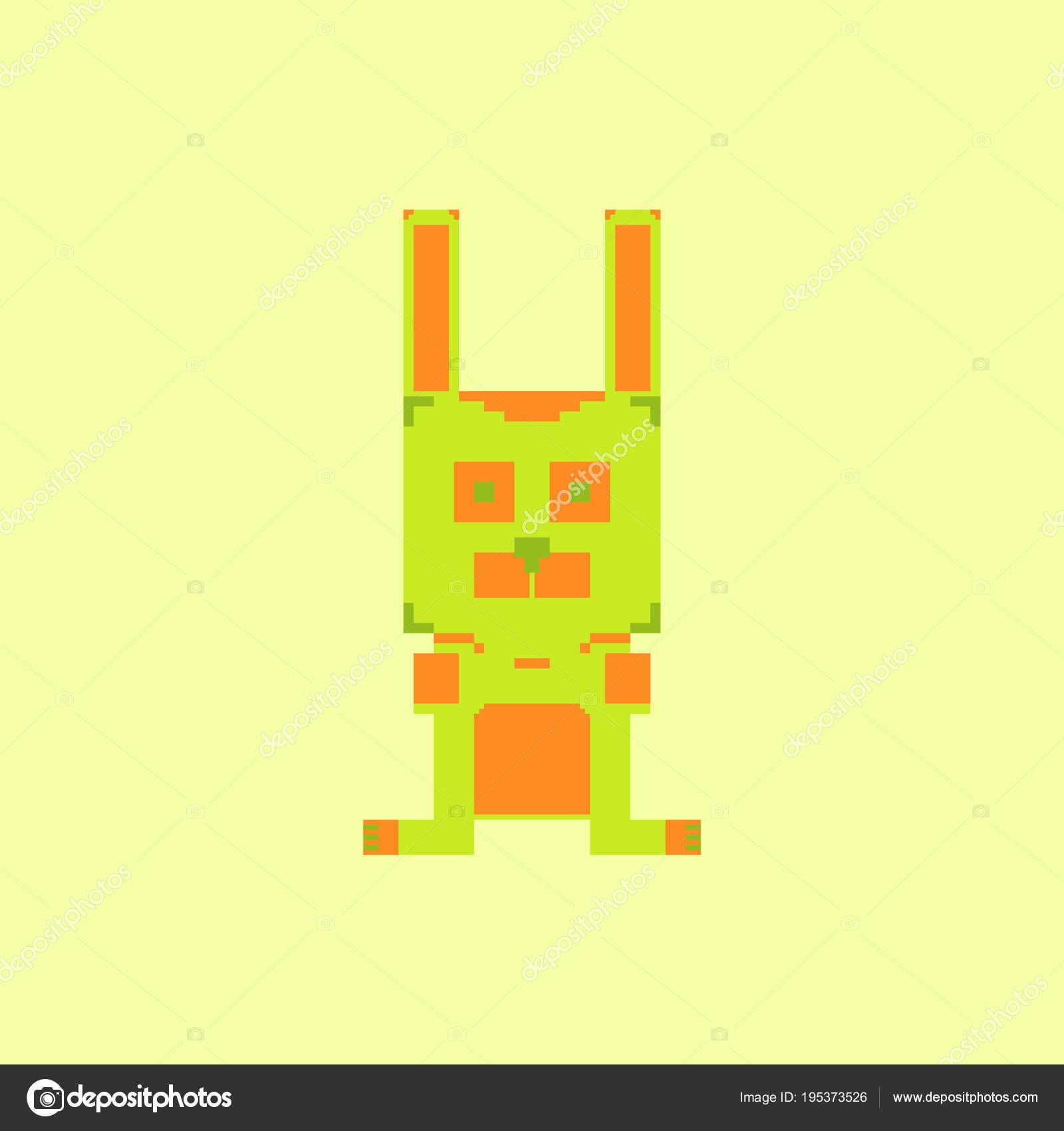 Mignon Lapin Simple Bit Style Pixel Art Image Vectorielle