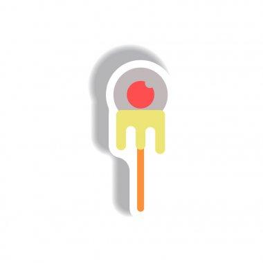 paper sticker Halloween icon, bloody eyeball on stick