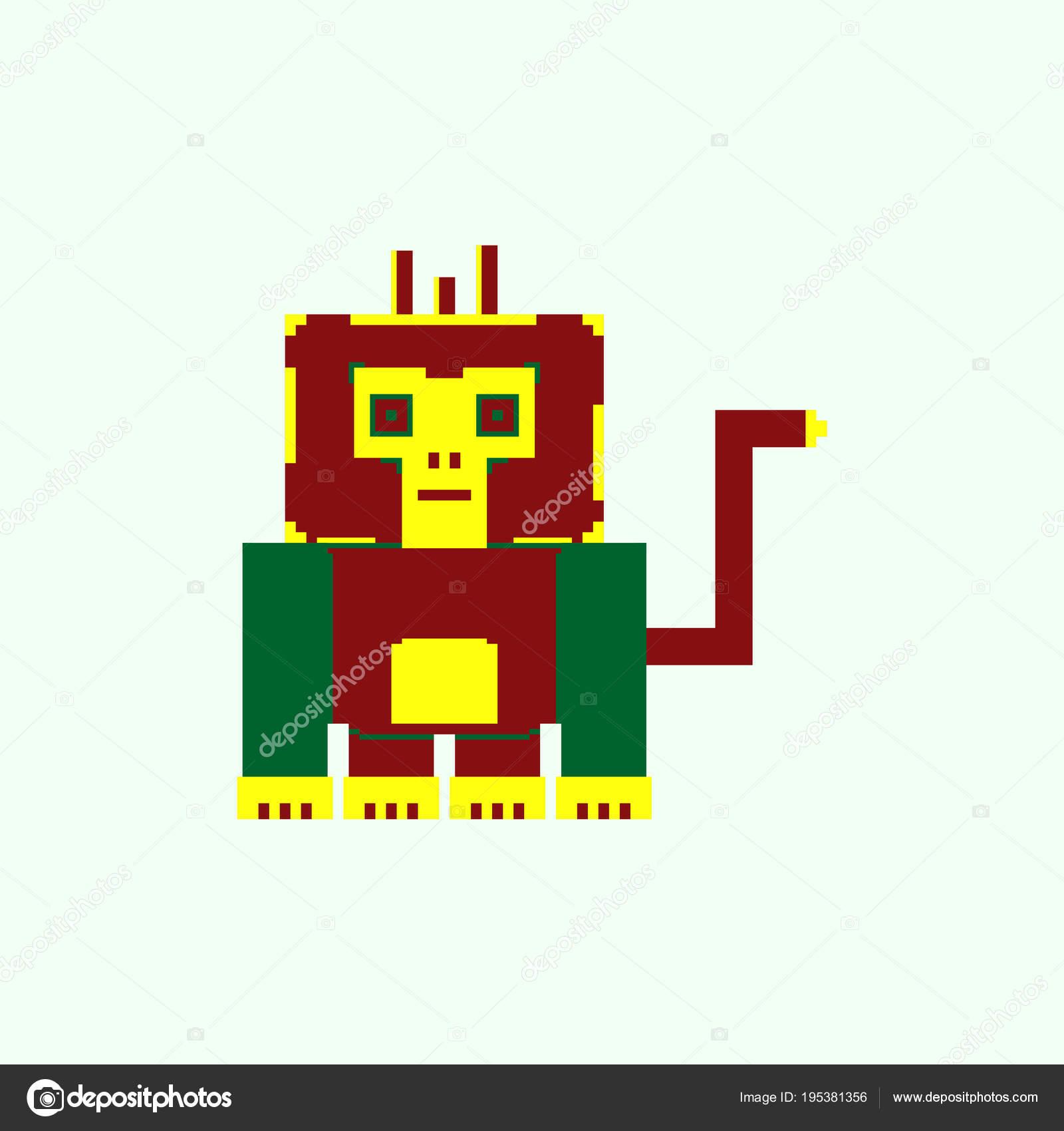 Gorille Mignon Dans Style Simple Pixel Art Image