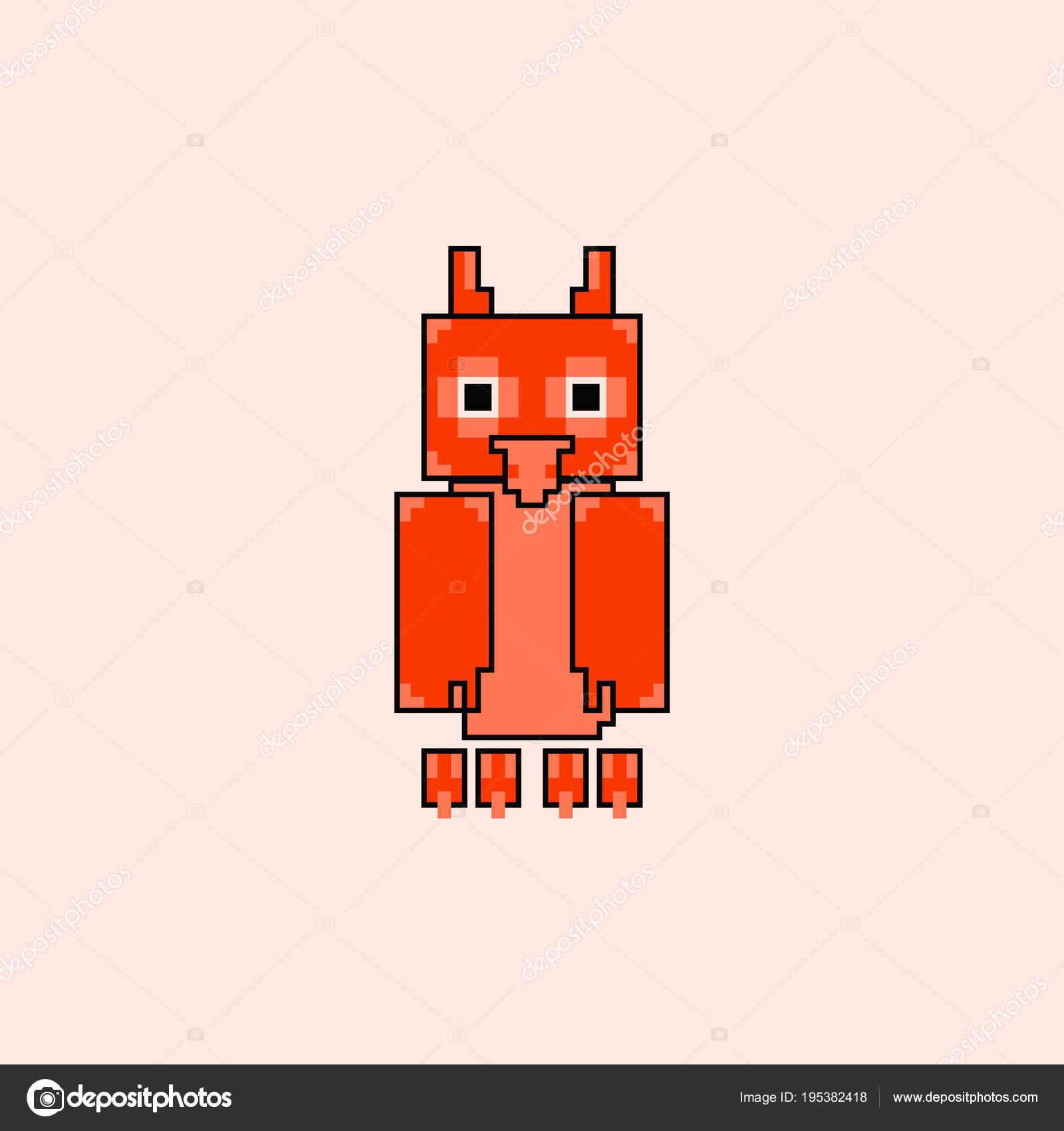 Mignon Chouette Chevêche Dans Style Simple Pixel Art Image