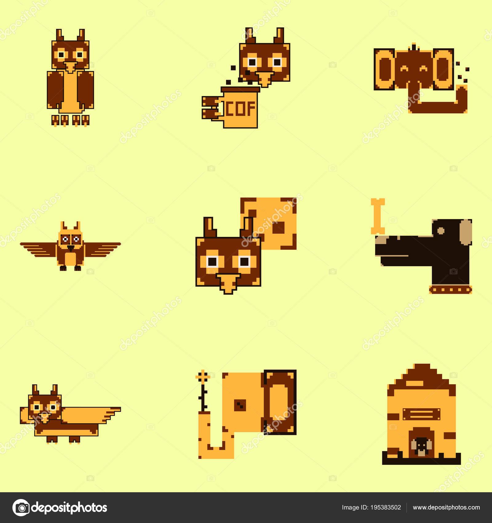 Collection Art Animaux Mignon Bits Pixel Image Vectorielle