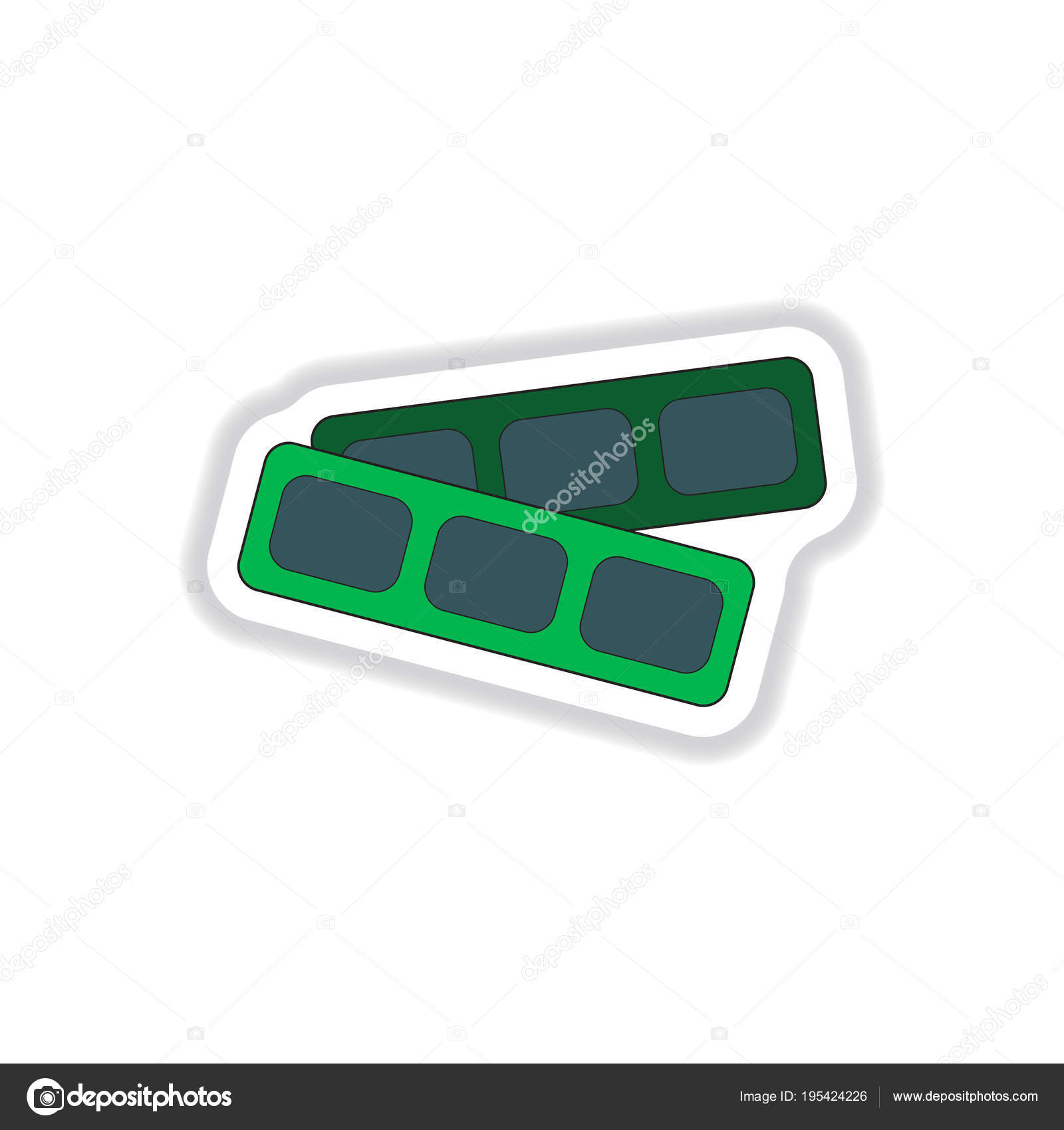 vector illustration paper sticker style cinema blank ticket stock