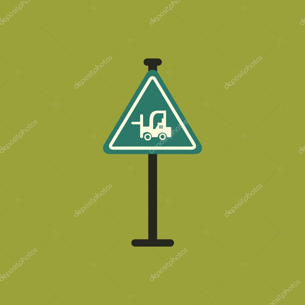 forklift in operation road sign