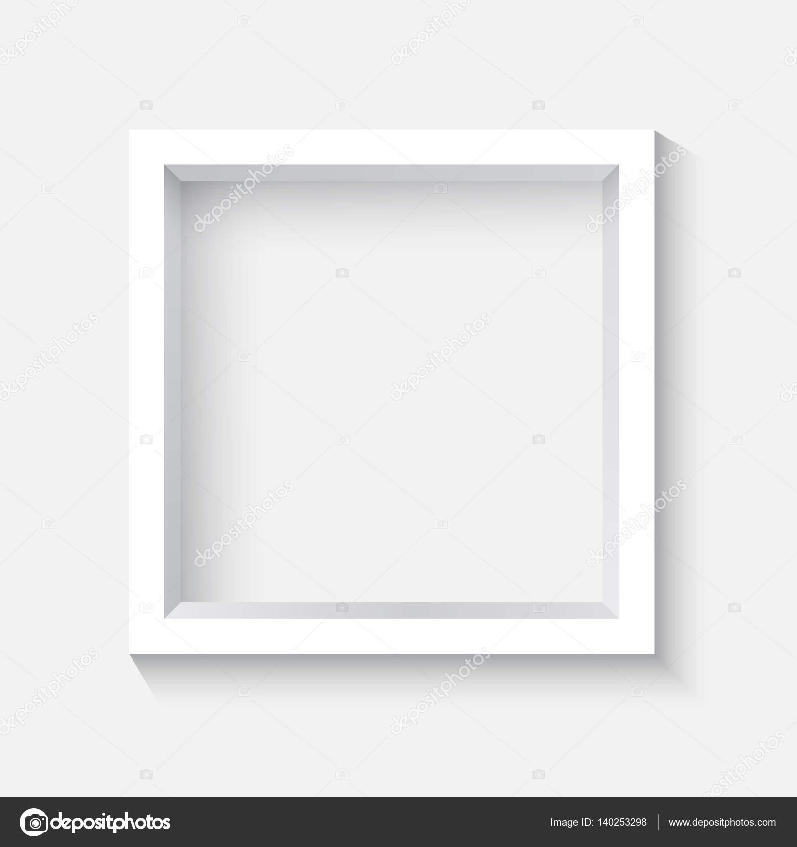 cuadrado blanco marco 3d con sombra — Archivo Imágenes Vectoriales ...