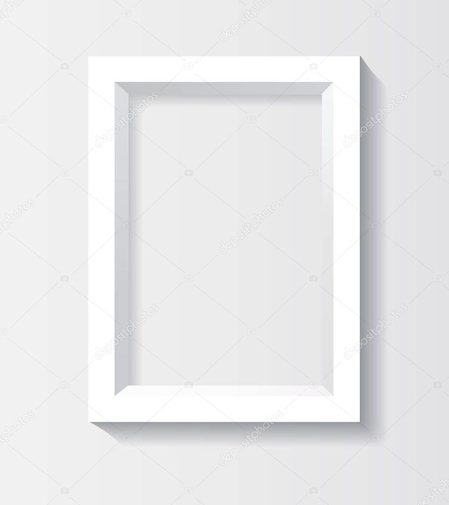 3d rectangulaire blanc cadre photo avec ombre image vectorielle 140253290. Black Bedroom Furniture Sets. Home Design Ideas