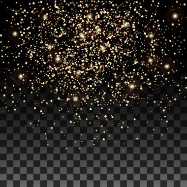 Vector gold glitter particles background effect for luxury greeting rich card. Sparkling texture.