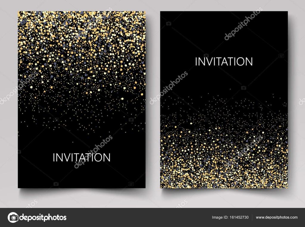 invitation template with gold glitter confetti background festive