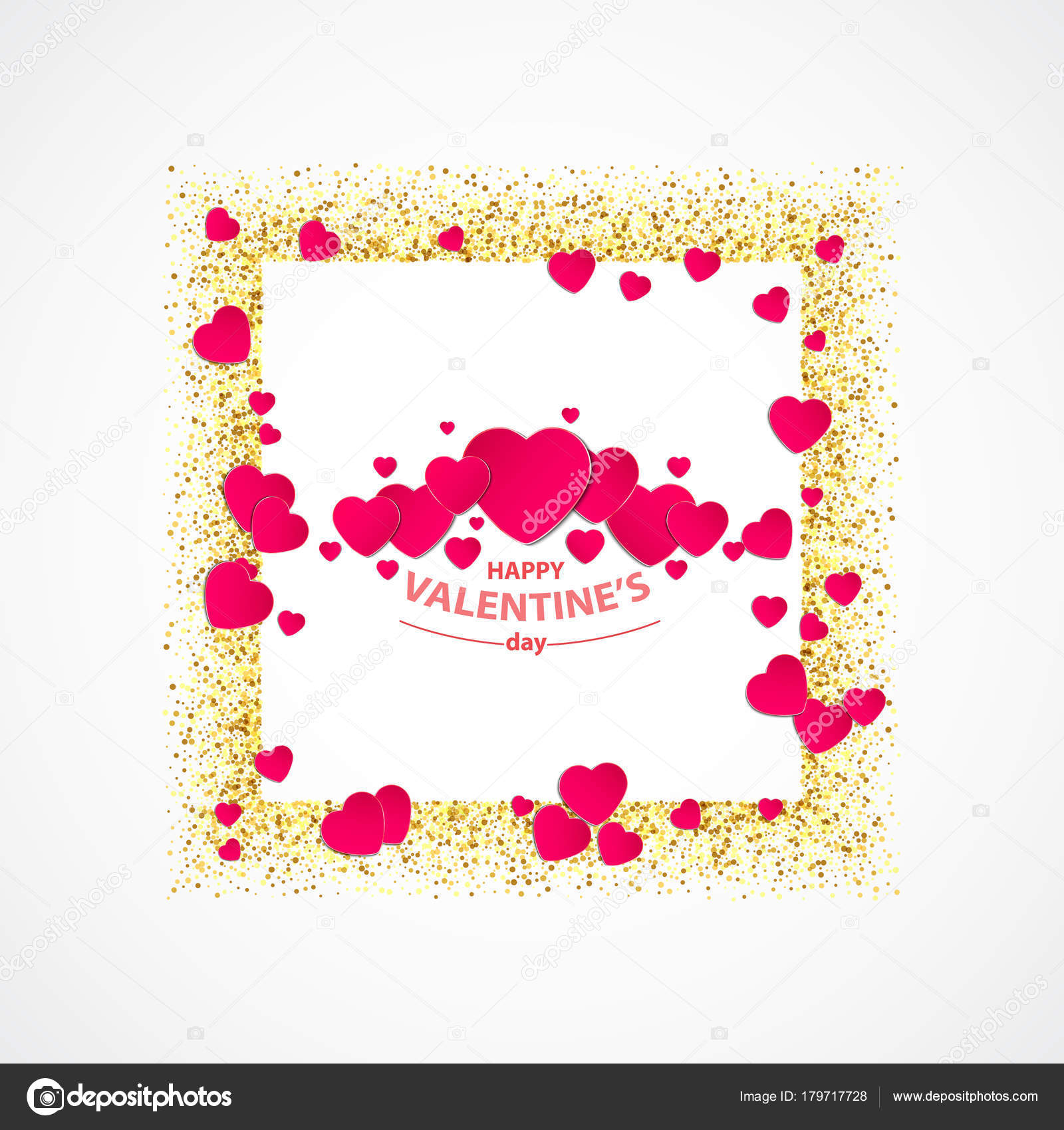 vector of Valentines day greeting card with gold glitter heart, gold ...