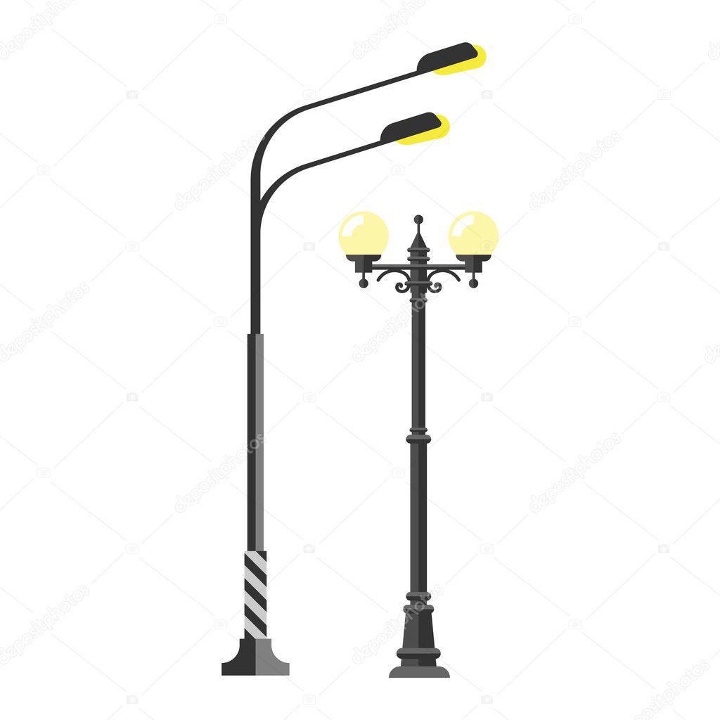 Street lamp silhouette vector