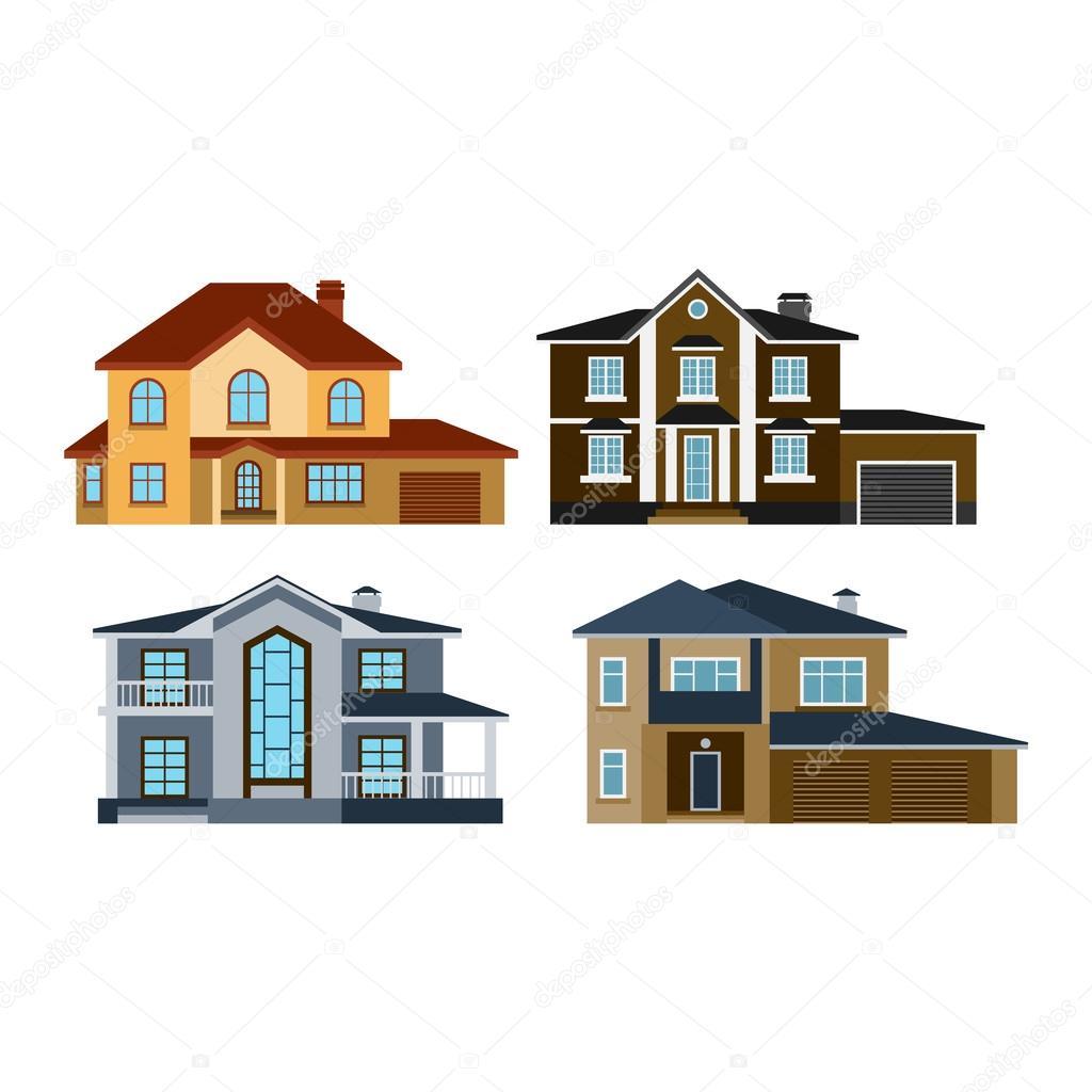 Houses front view vector illustration stock vector for Casa moderna vector