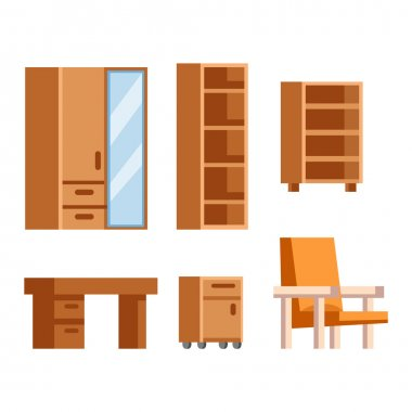 Furniture icons vector isolated