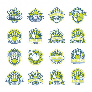 Vector bowling logo emblems.