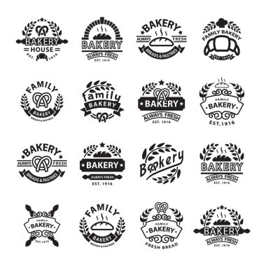 Bakery badgesand logo icon thin modern style vector collection set. Retro bakery labels, logos and badges icons. Bakery badges design elements isolated on white background stock vector