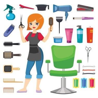Hairdresser barber girl vector