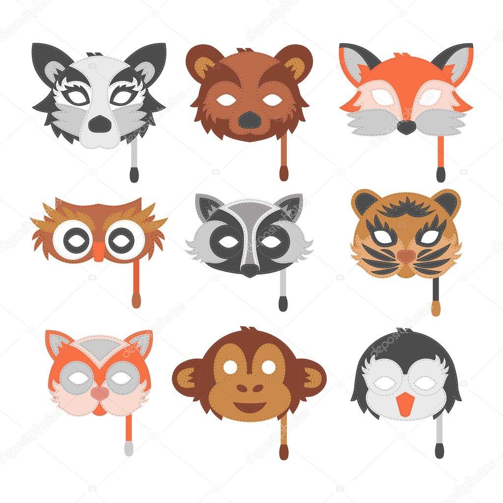 Cartone animato animale festa maschera vettoriale