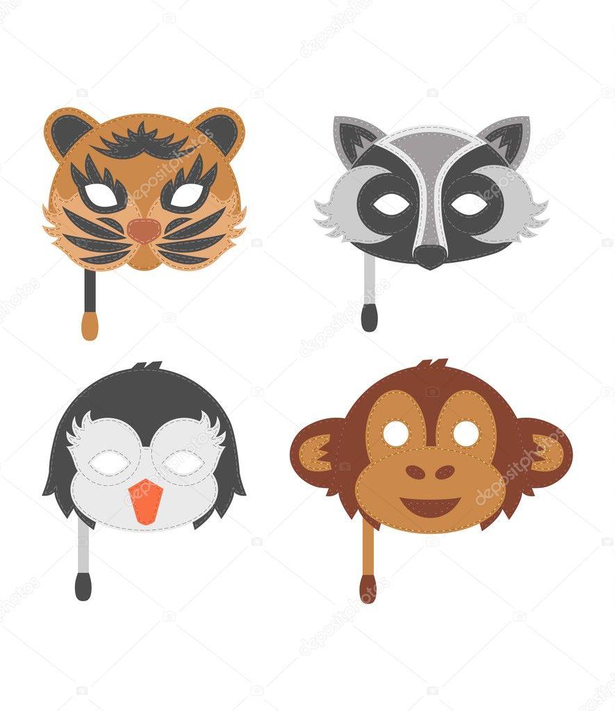 Cartone animato animale festa maschera vettoriale. u2014 vettoriali