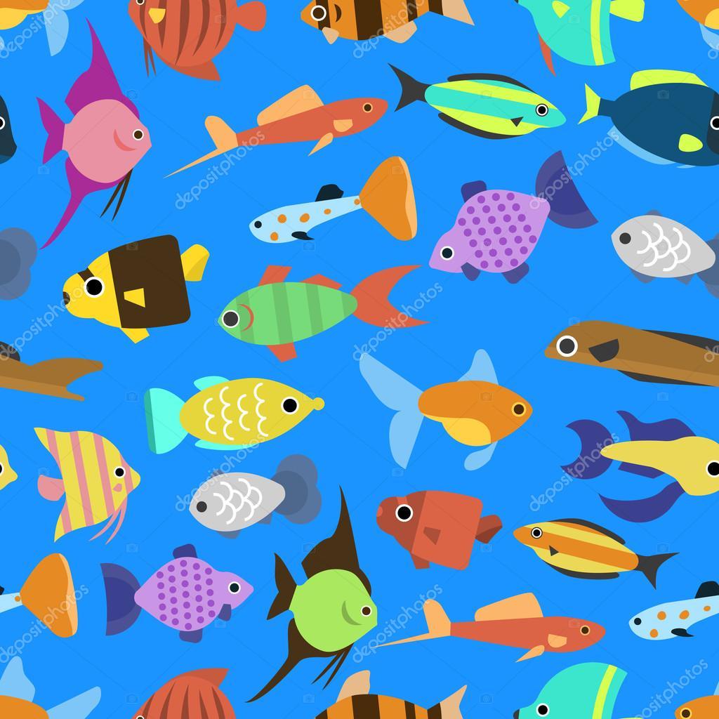 かわいい魚のイラストのシームレスなパターンをベクトルします