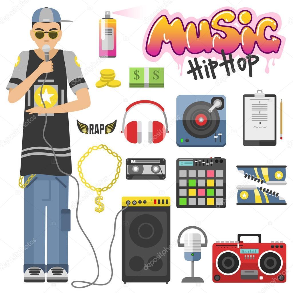 Cantando breakdance íconos de la música hip-hop rap conjunto ilustración  vectorial aislado. Diseño de símbolos de música muestra estilo hip-hop.