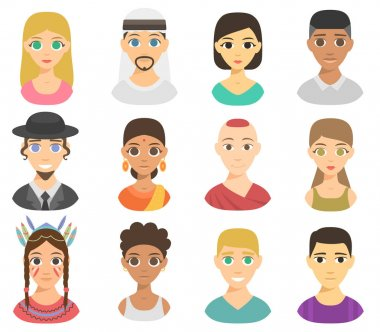 Different nations people portraits vector set.