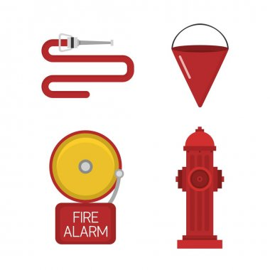 Vector set firefighter fire safety icons