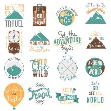 Travel motivation badge vector set.