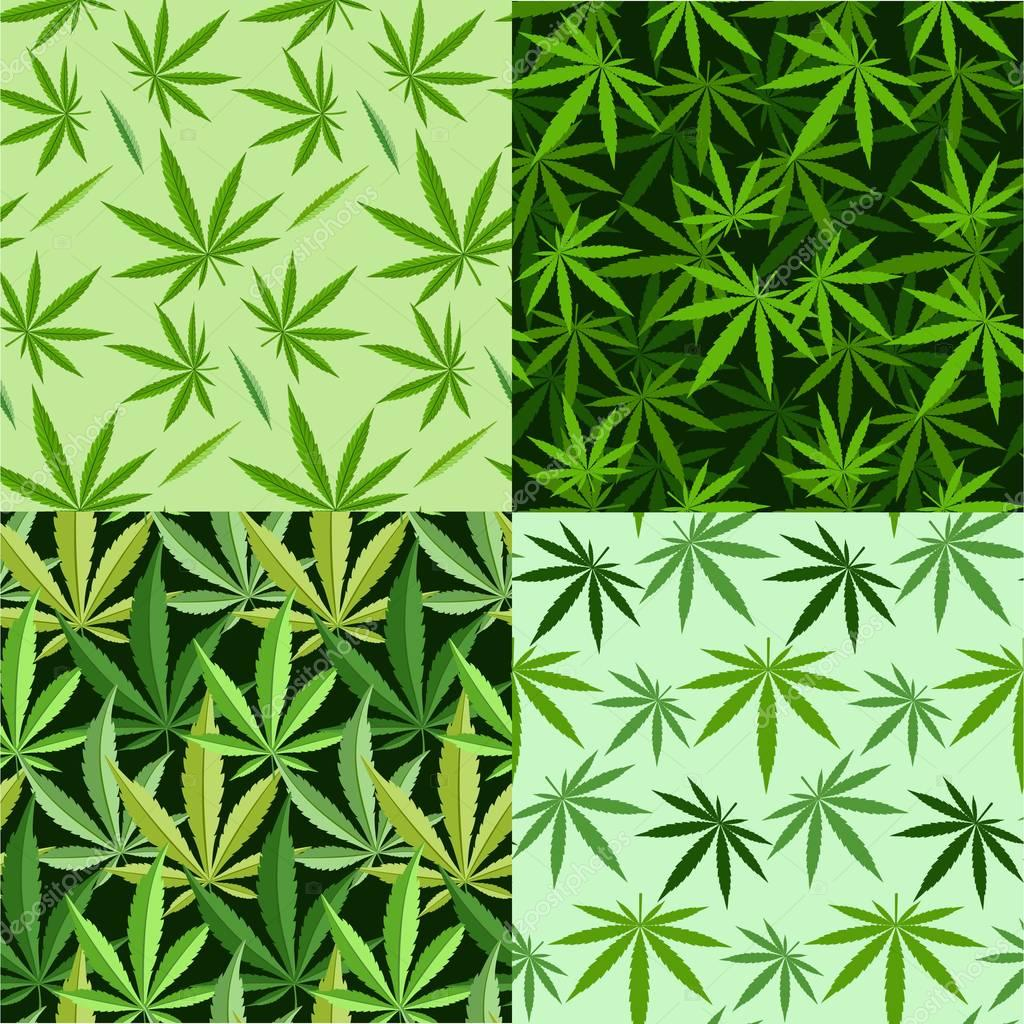 Marijuana background  set seamless patterns
