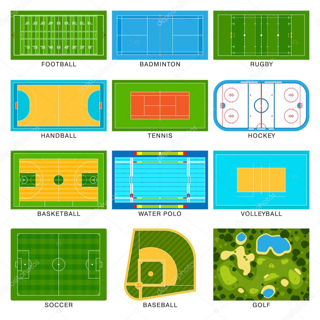 Game fields vector set.