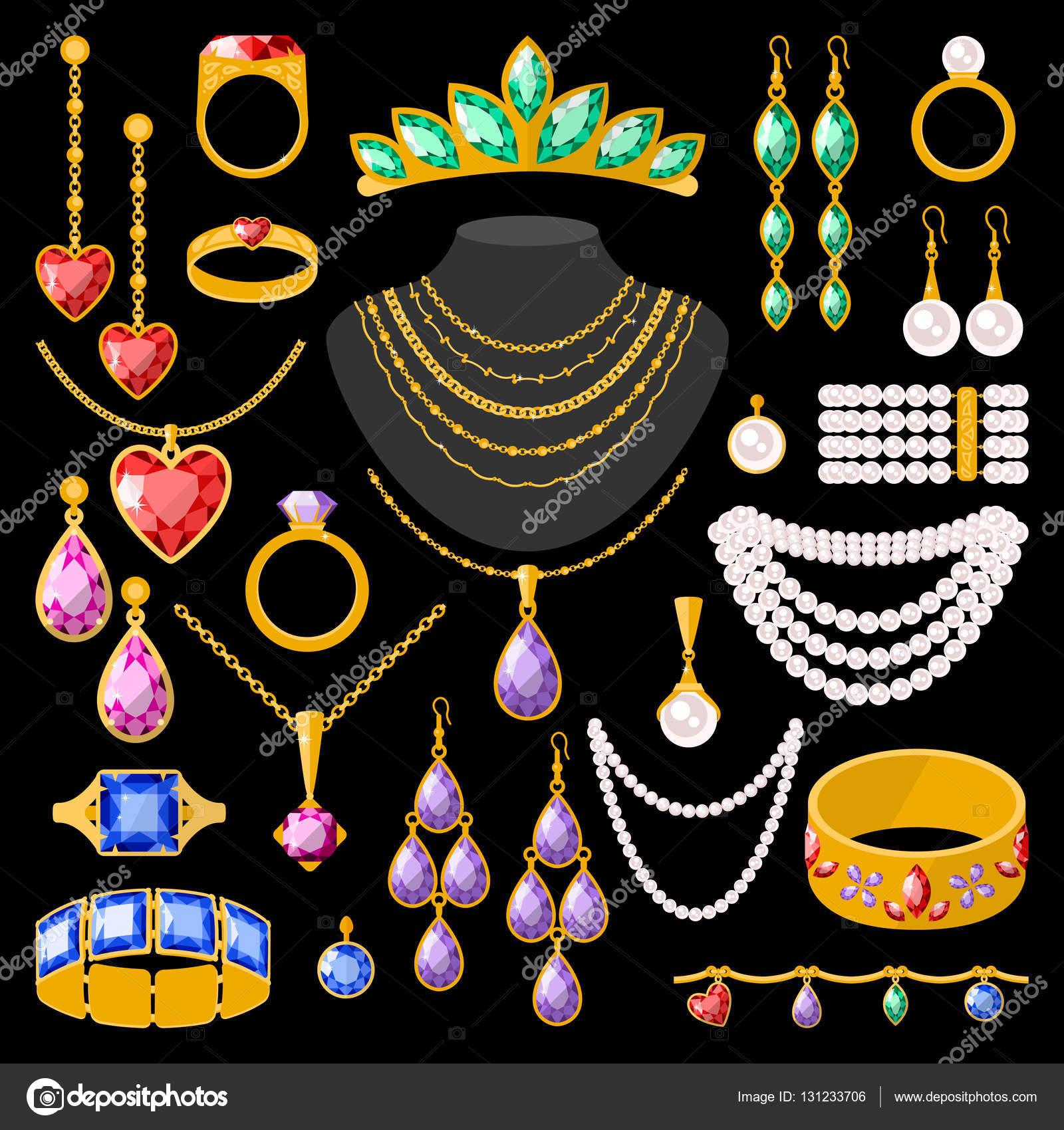 set of cartoon jewelry accessories stock vector vectorshow