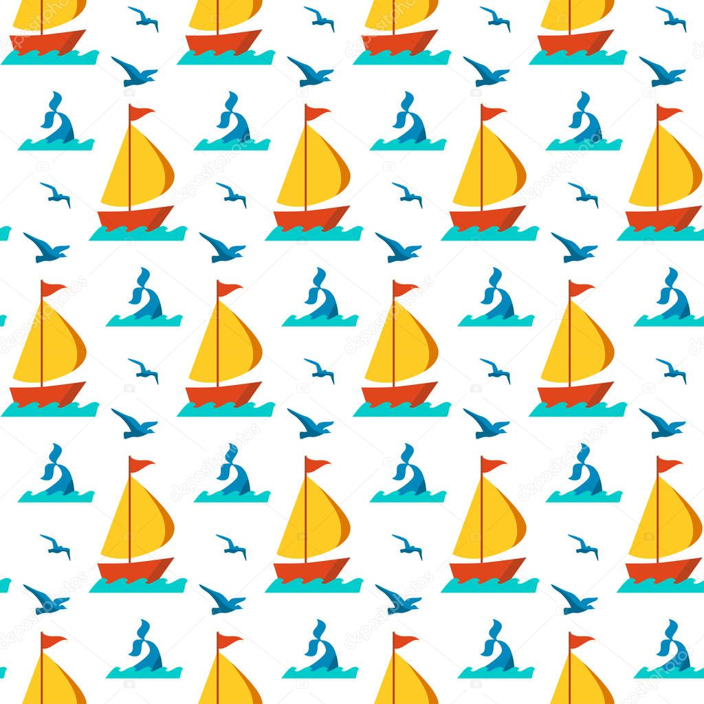 Seamless patterns nautical elements vector