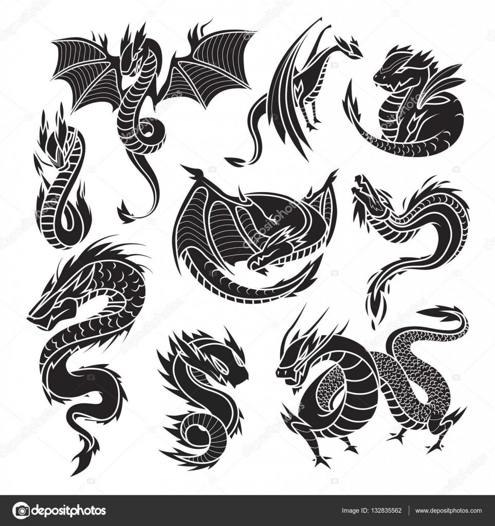 Siluetas De Dragones Siluetas De Dragón Chino Sobre Fondo Blanco