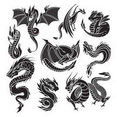 Photo Chinese dragon silhouettes on white background.