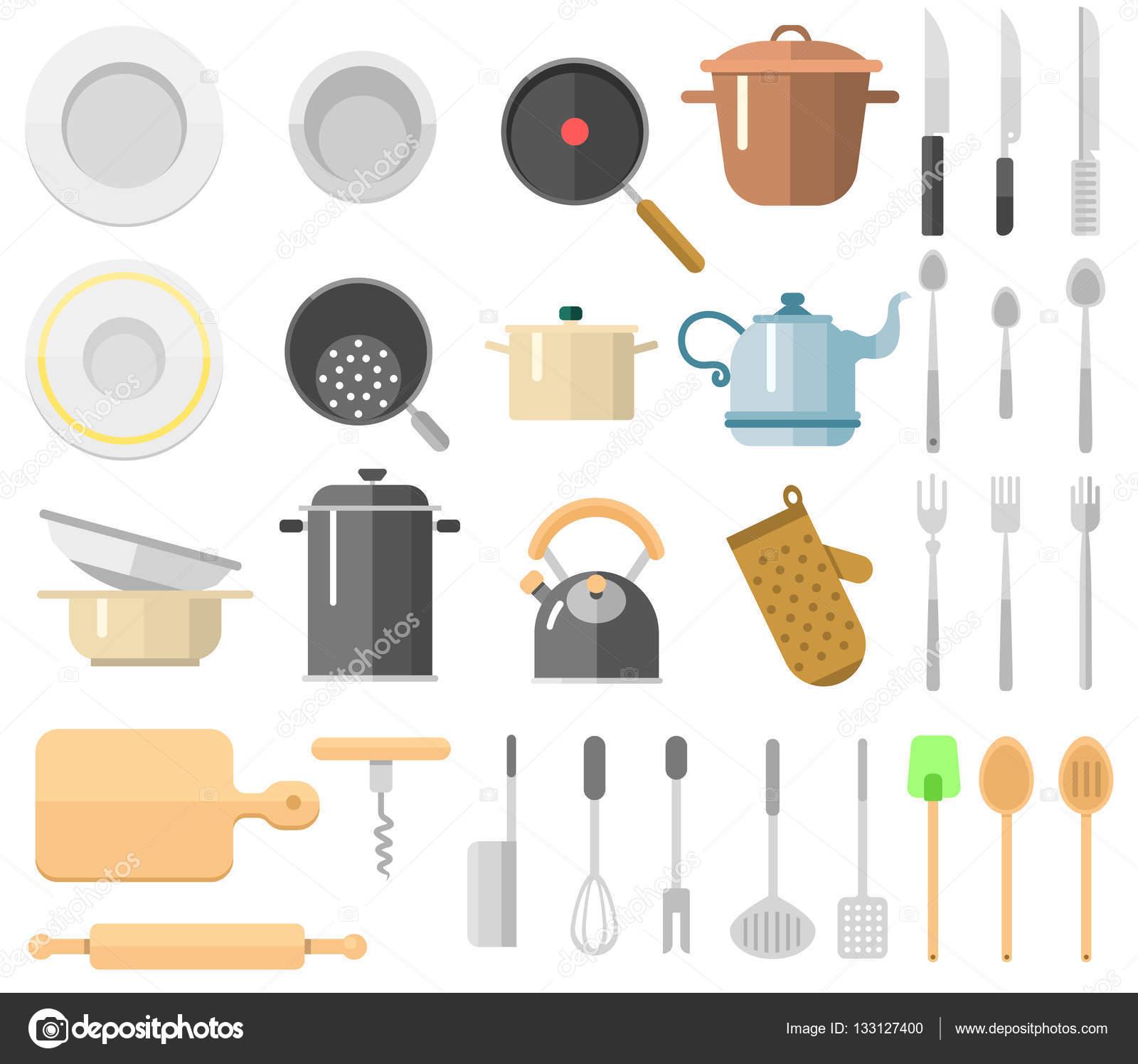 Insieme di vettore di utensili da cucina — Vettoriali Stock ...
