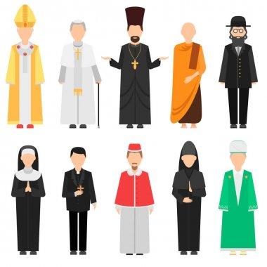 Religion people vector set.