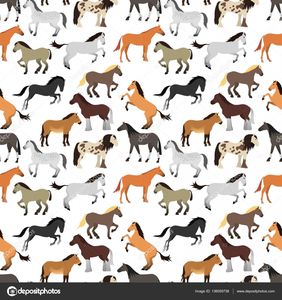 Seamless pattern with horse in flat style. — Stock Vector ...