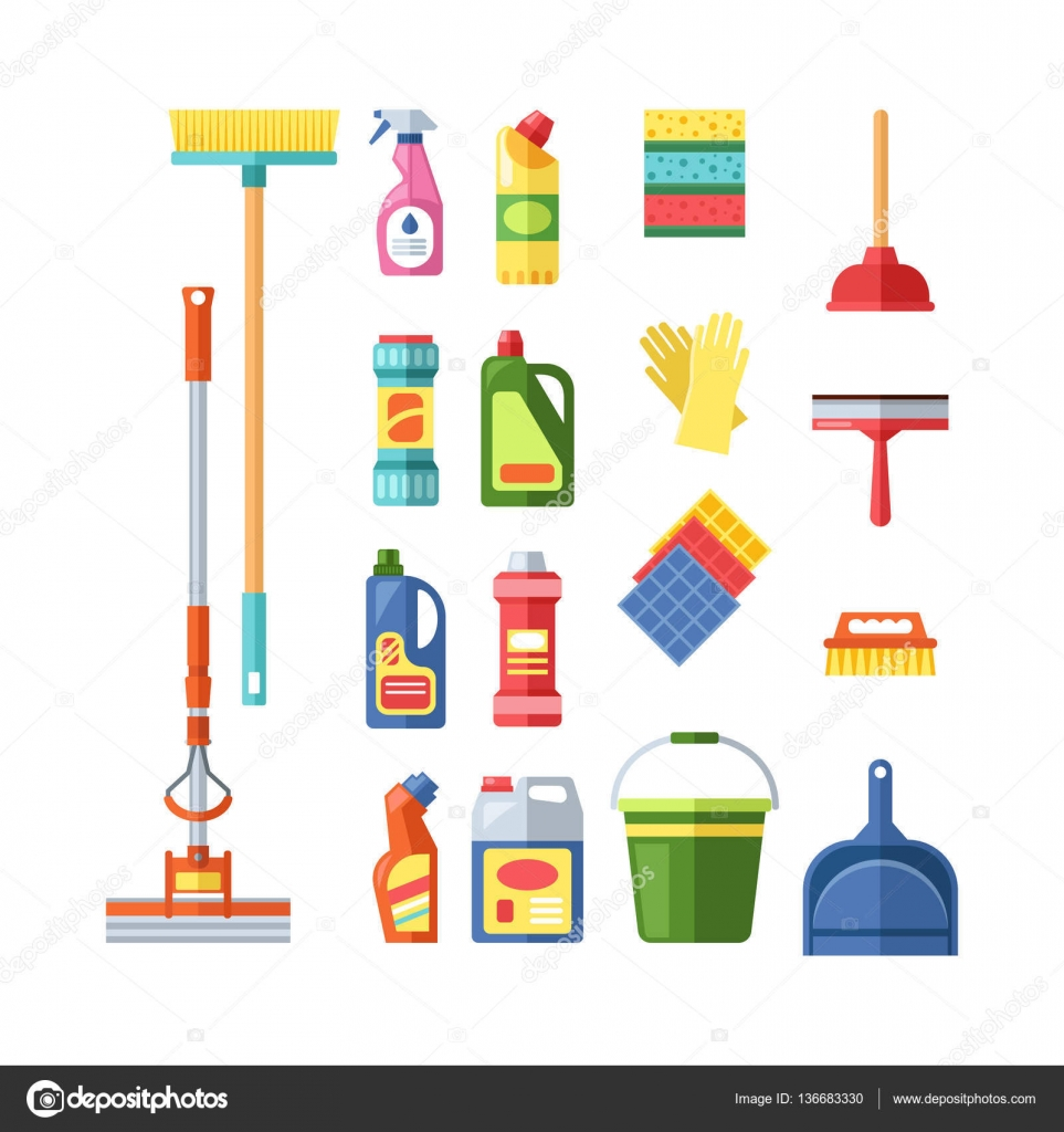 House cleaning tools vector stock vector vectorshow for House decorating tools