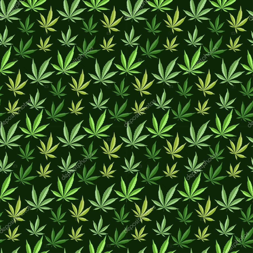 Marijuana background vector seamless patterns