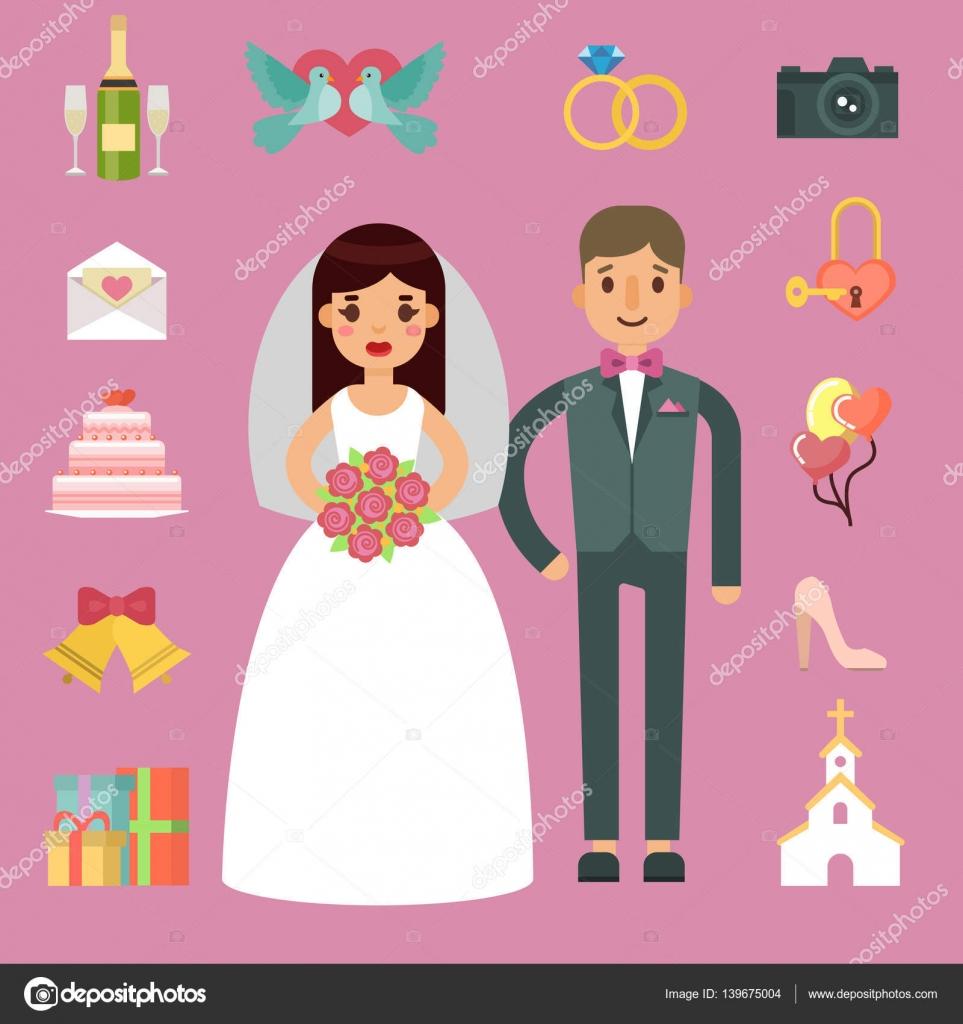 Bride and groom wedding couple vector illustration. — Stock Vector ...