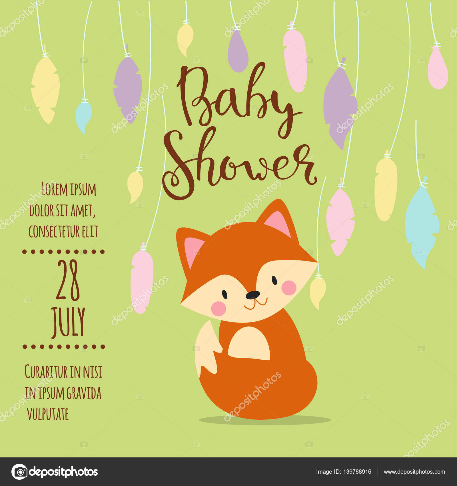 Baby shower invitation vector card stock vector vectorshow baby shower design with cute woodland fox born arrival vector graphic party template vintage cute birth invitation welcome greeting card decoration stopboris Choice Image
