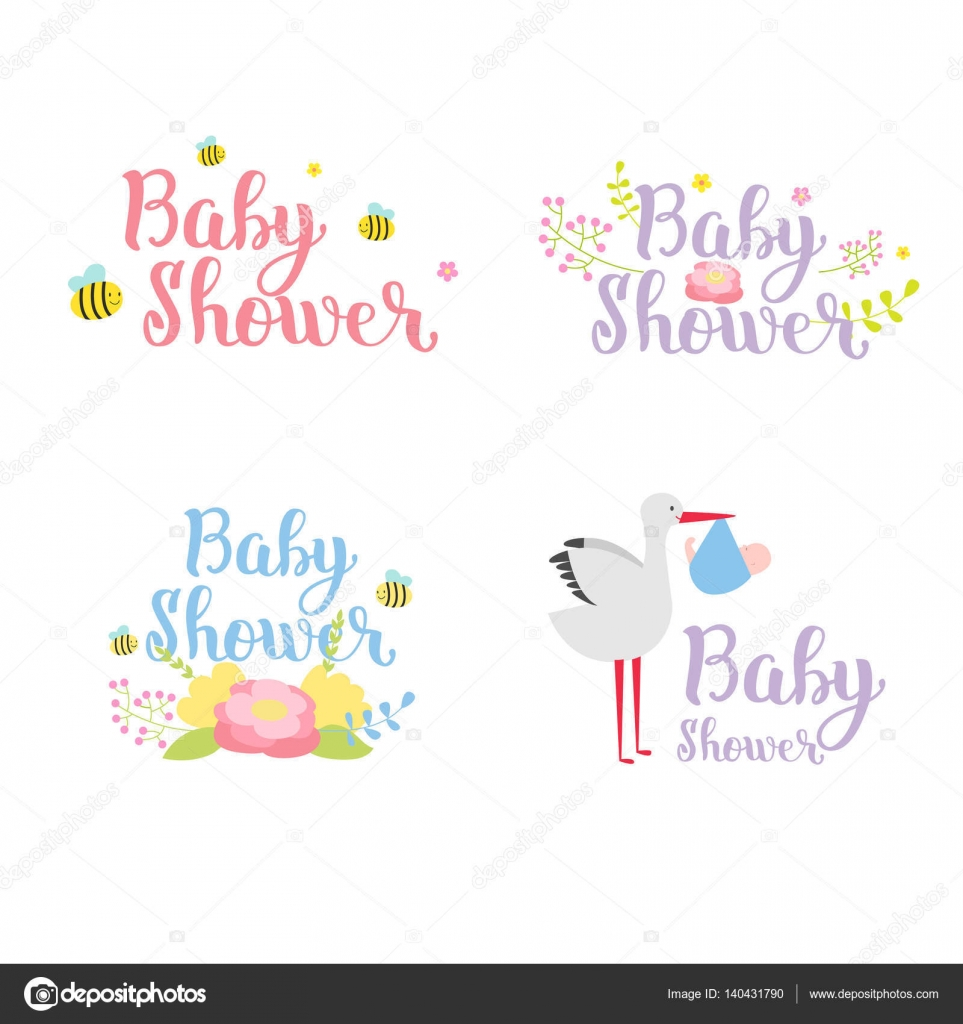baby shower badge vector set � stock vector 169 vectorshow
