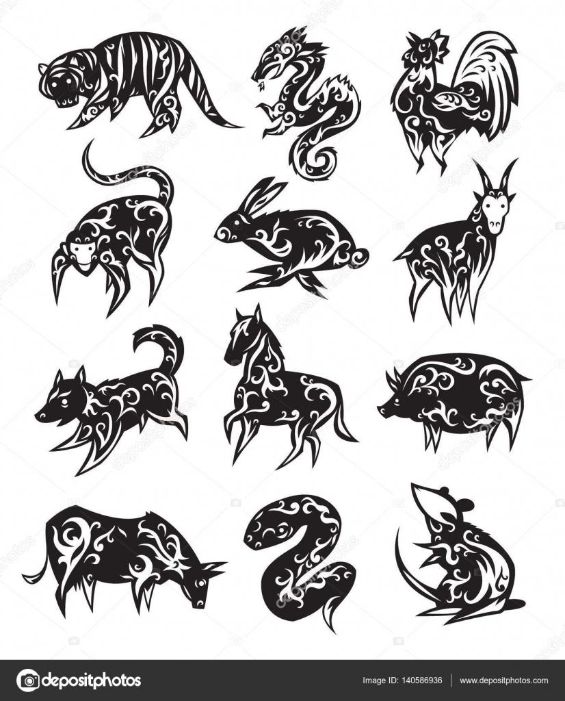 Chinese zodiac eastern calendar black symbols vector illustrations chinese zodiac eastern calendar black symbols vector illustrations traditional china new year oriental animal asia fortune silhouette drawing decoration buycottarizona