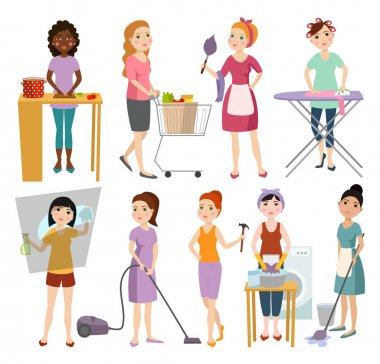 Set of housewifes homemaker woman vector illustration.