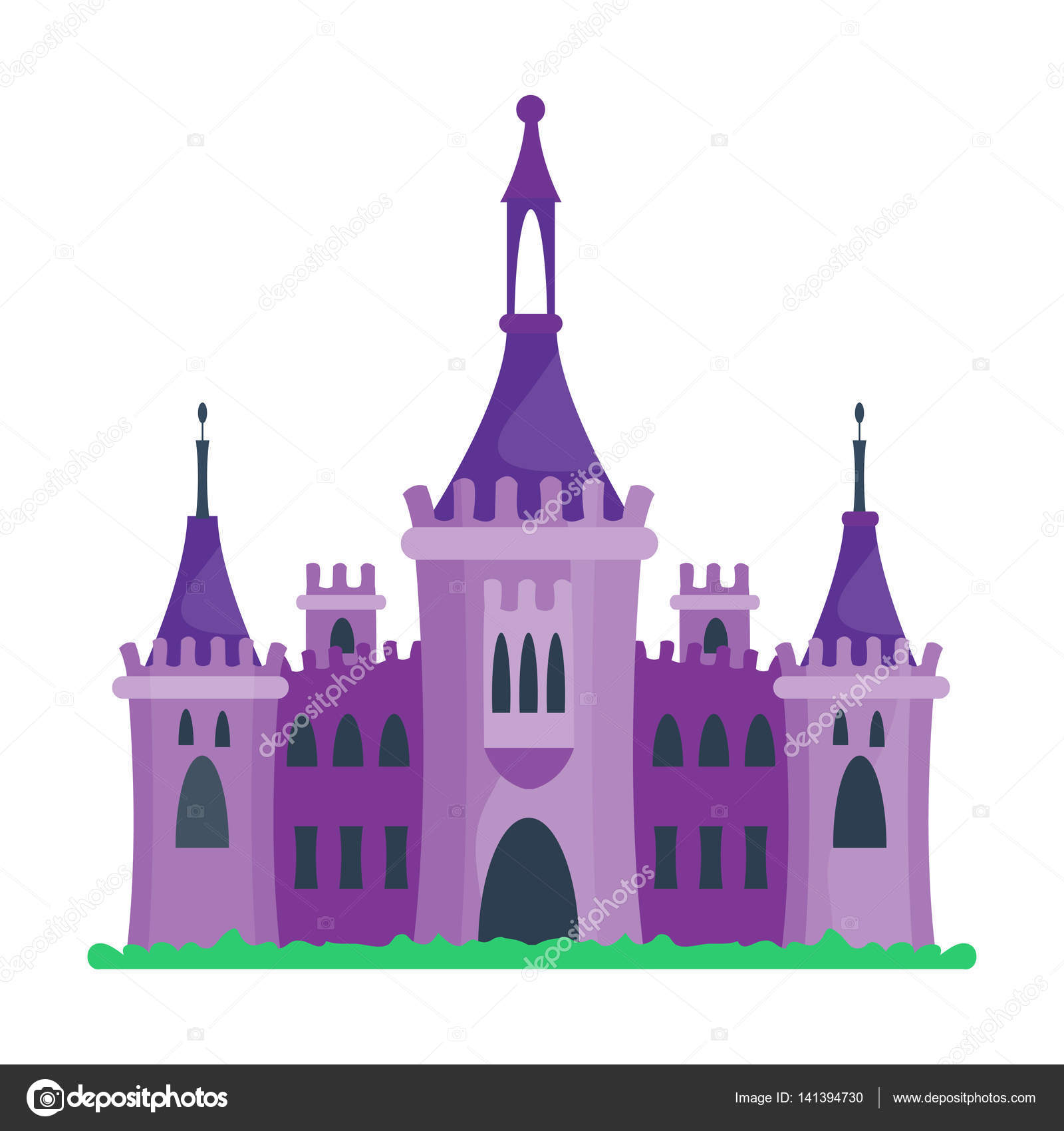Dessin Anime Chateau Architecture Illustration Vectorielle Image