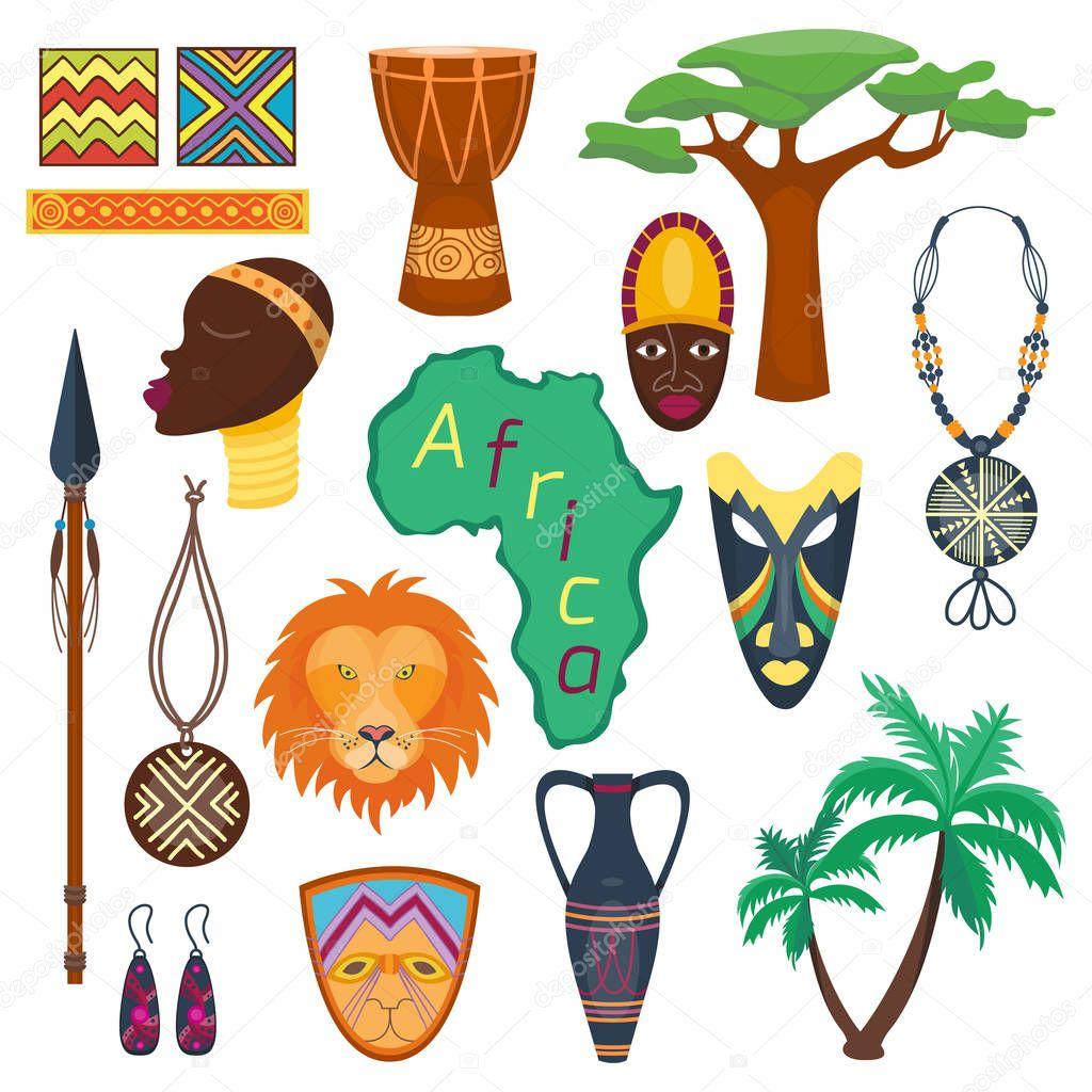 Africa jungle tribal and ancient safari vector illustration.
