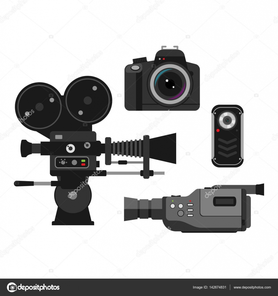 Photo And Camera Vector Illustration Stock Vectorshow Different Types Of Digital Cameras Optic Lenses Set On White Background Objective Retro Equipment Professional Look Vintage Technology Electronic