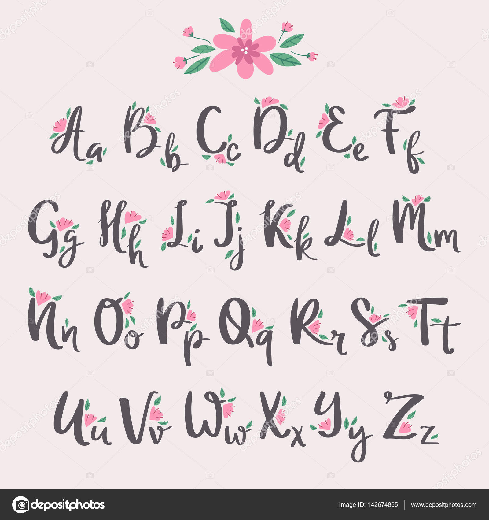 Vector Colorful Flower Font Nature Summer Type And Hand Drawn Alphabet Spring Beautiful Flora Set Blossom Lettering Romantic Cute Design