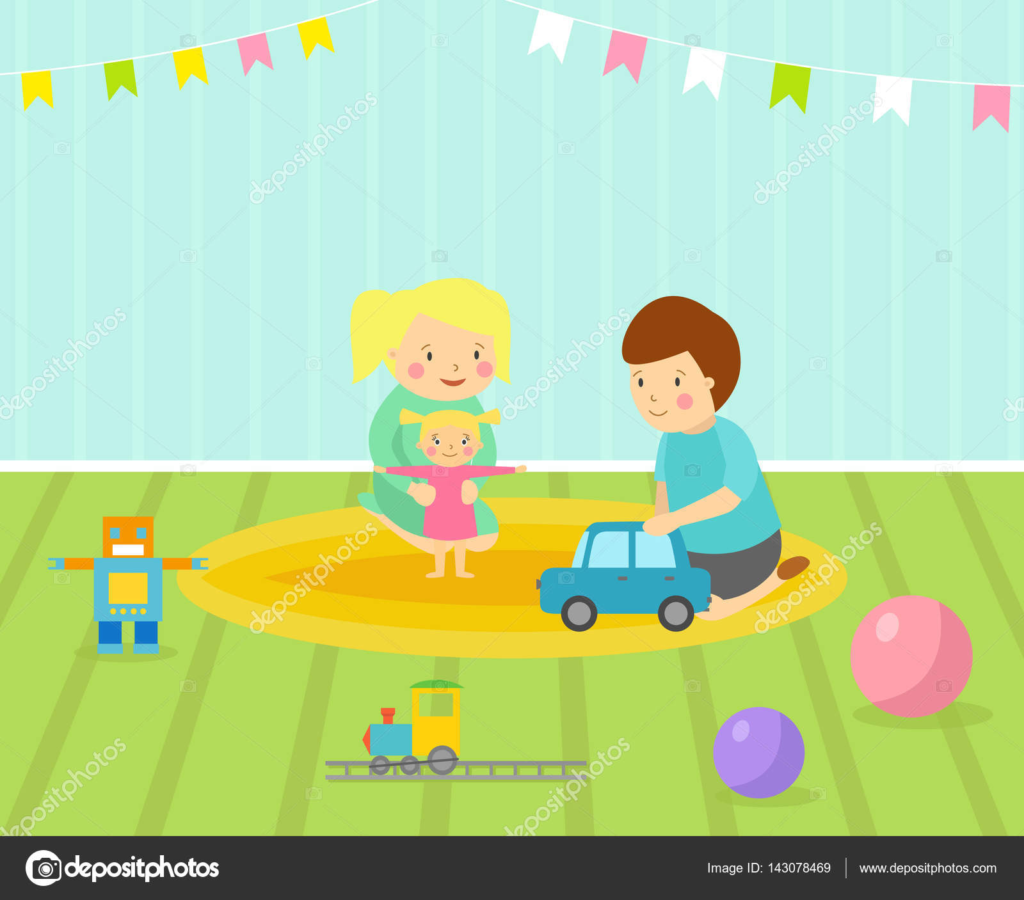 Salle de jeux pour enfants avec un mobilier clair décor aire de jeux ...