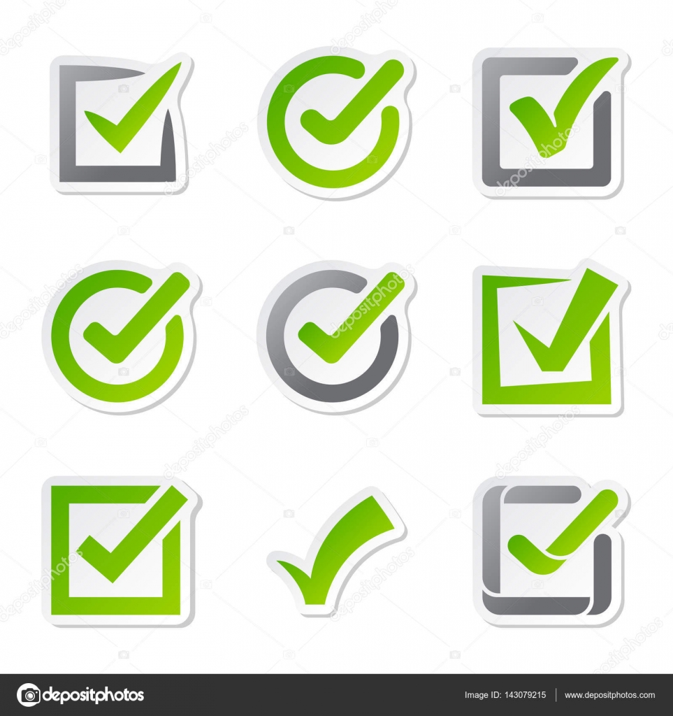 Check box icons of vote mark sign choice yes symbol and correct design right agreement voting ...