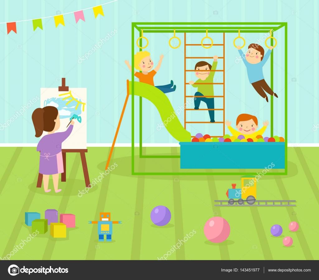 salle de jeux pour enfants avec un mobilier clair d cor. Black Bedroom Furniture Sets. Home Design Ideas