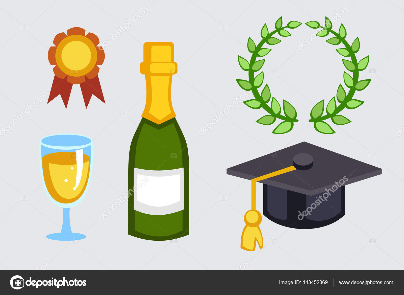 champagne bottle and graduation hat vector illustration holiday gold wine glass new year party beverage romantic drink bottle